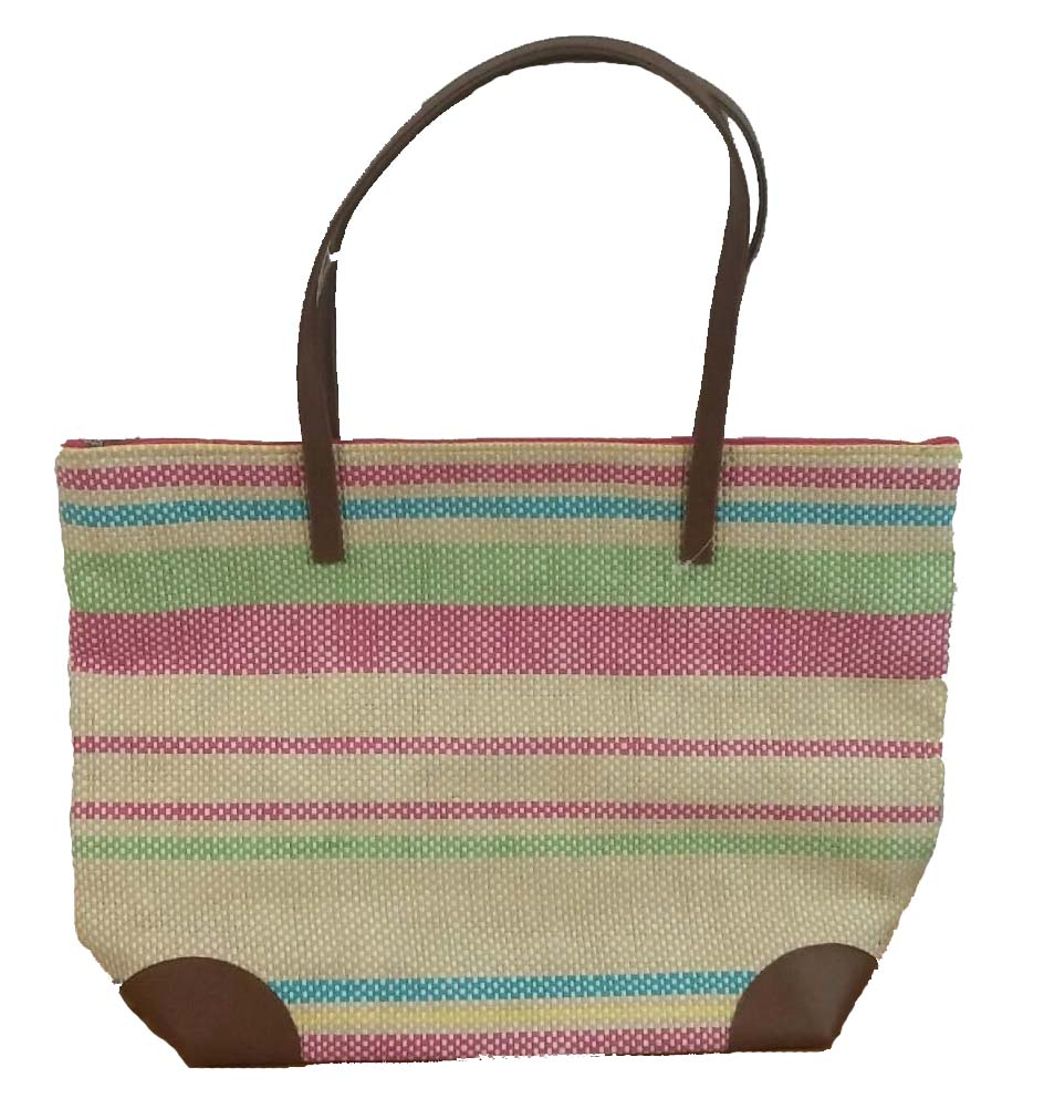 Straw Beach Bags W/ Pocket - Leather/Multicolored Stripes