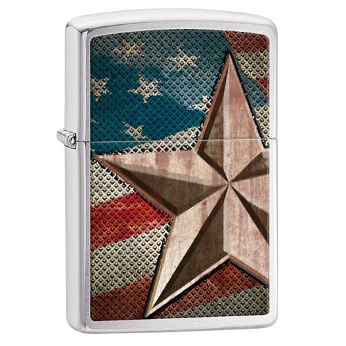 Brushed Chrome, Silver w/American Flag, Retro Star