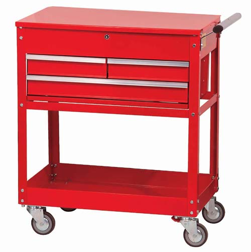 "3 Drawer 34"" Roll Cart Red"