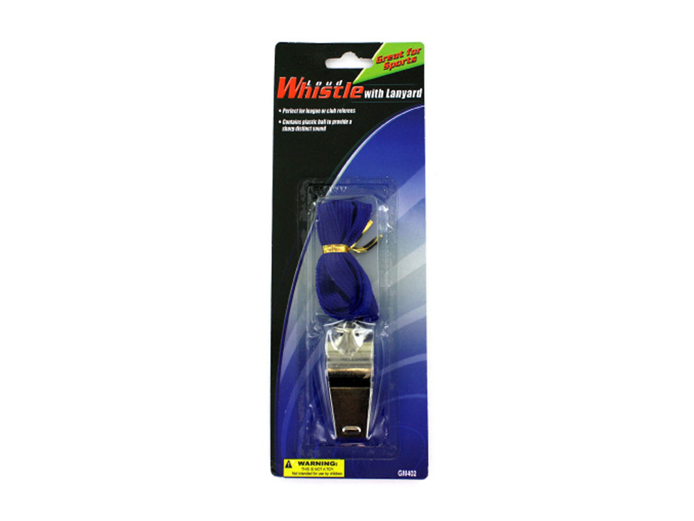 bulk buys Metal whistle with lanyard Pack of 24