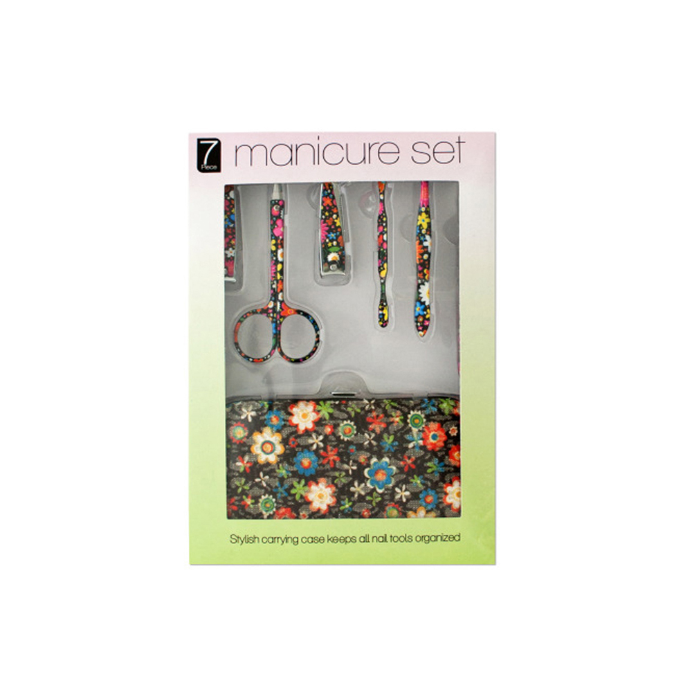 Manicure Set with Stylish Floral Carrying Case - Pack of 4