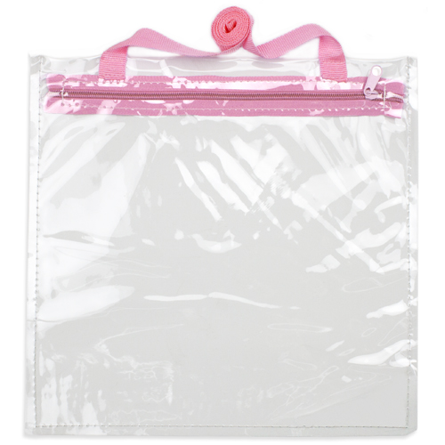 12'' x 12'' Clear Hand Bag with Pink Shoulder Strap