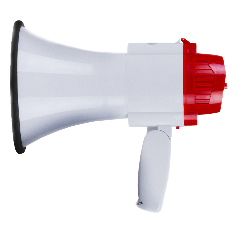 Portable 30 Watt Megaphone with Adjustable Volume and Alarm