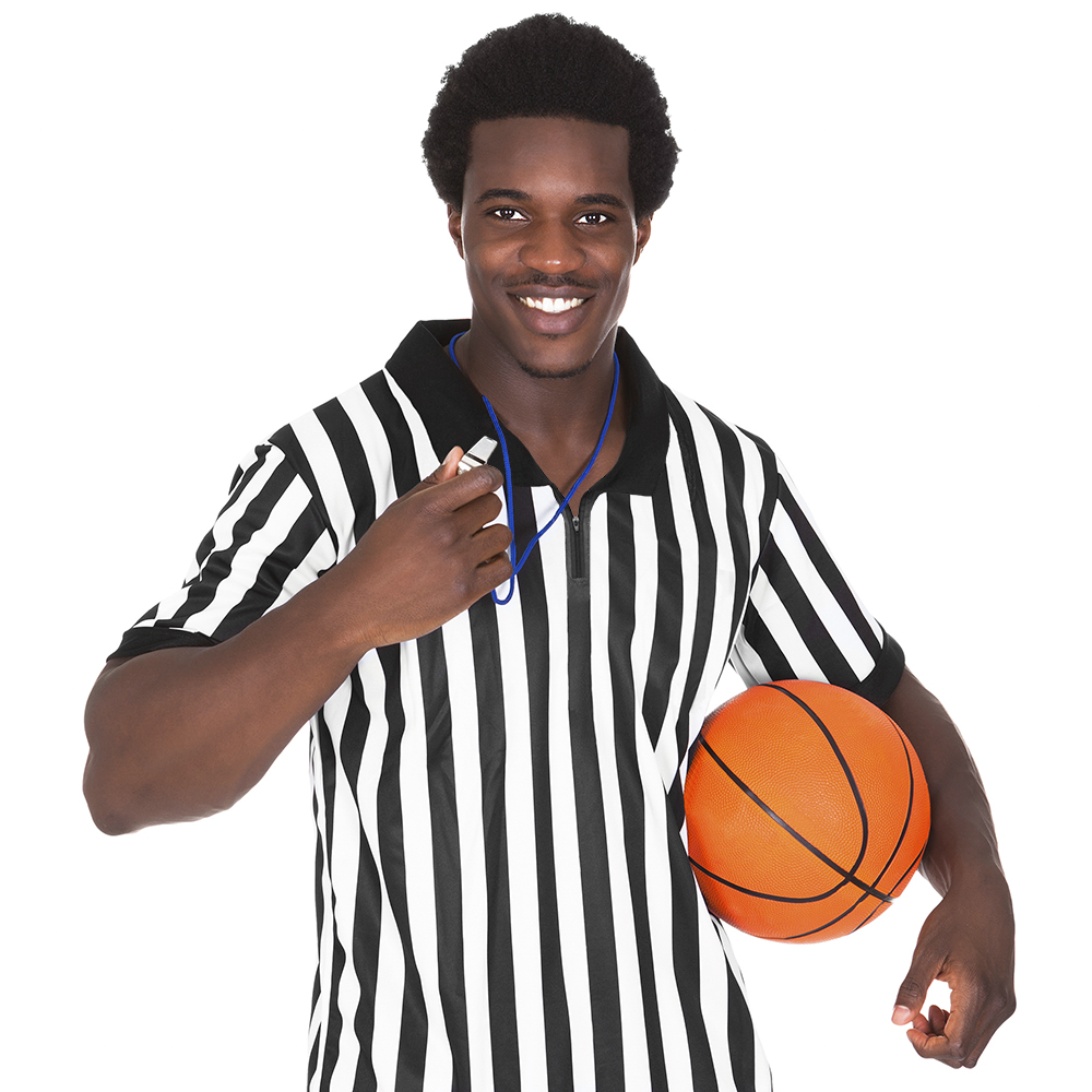 Men's Official Striped Referee/Umpire Jersey, L