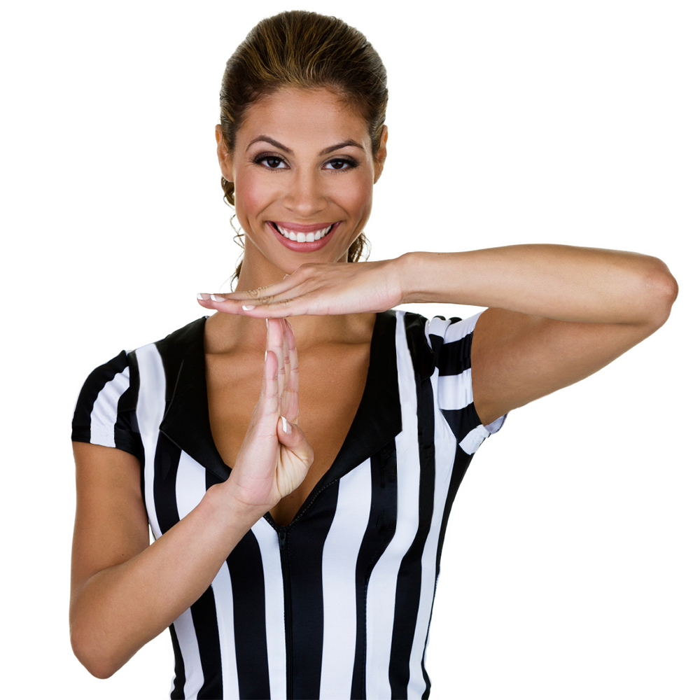 Women's Official Striped Referee/Umpire Jersey, M