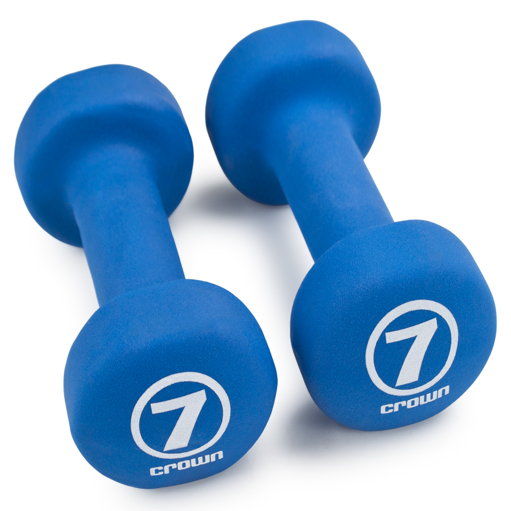 Pair of 7lb Royal Blue Neoprene Body Sculpting Hand Weights