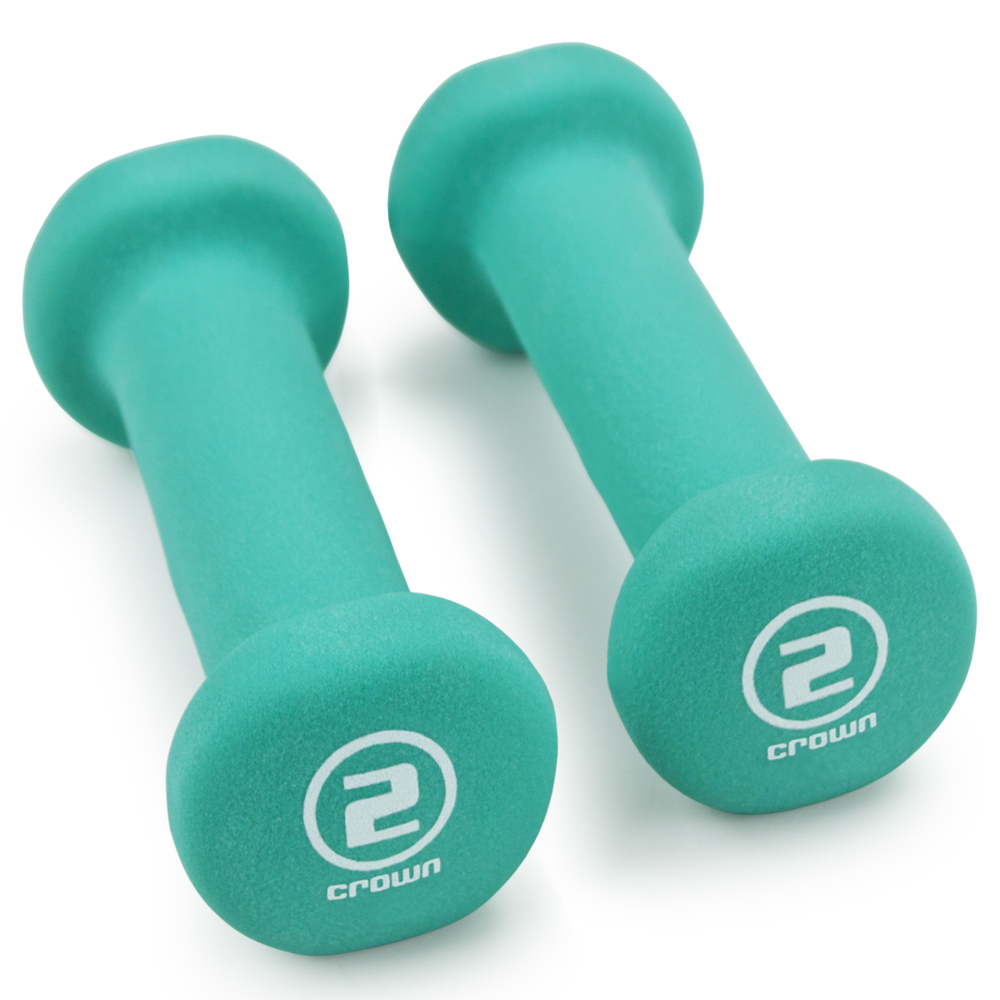 Pair of 2lb Teal Neoprene Body Sculpting Hand Weights