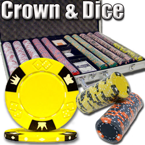 1000 Count - Pre-Packaged - Poker Chip Set - Crown & Dice - Aluminum