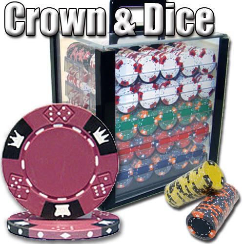 1000 Count - Pre-Packaged - Poker Chip Set - Crown & Dice - Acrylic
