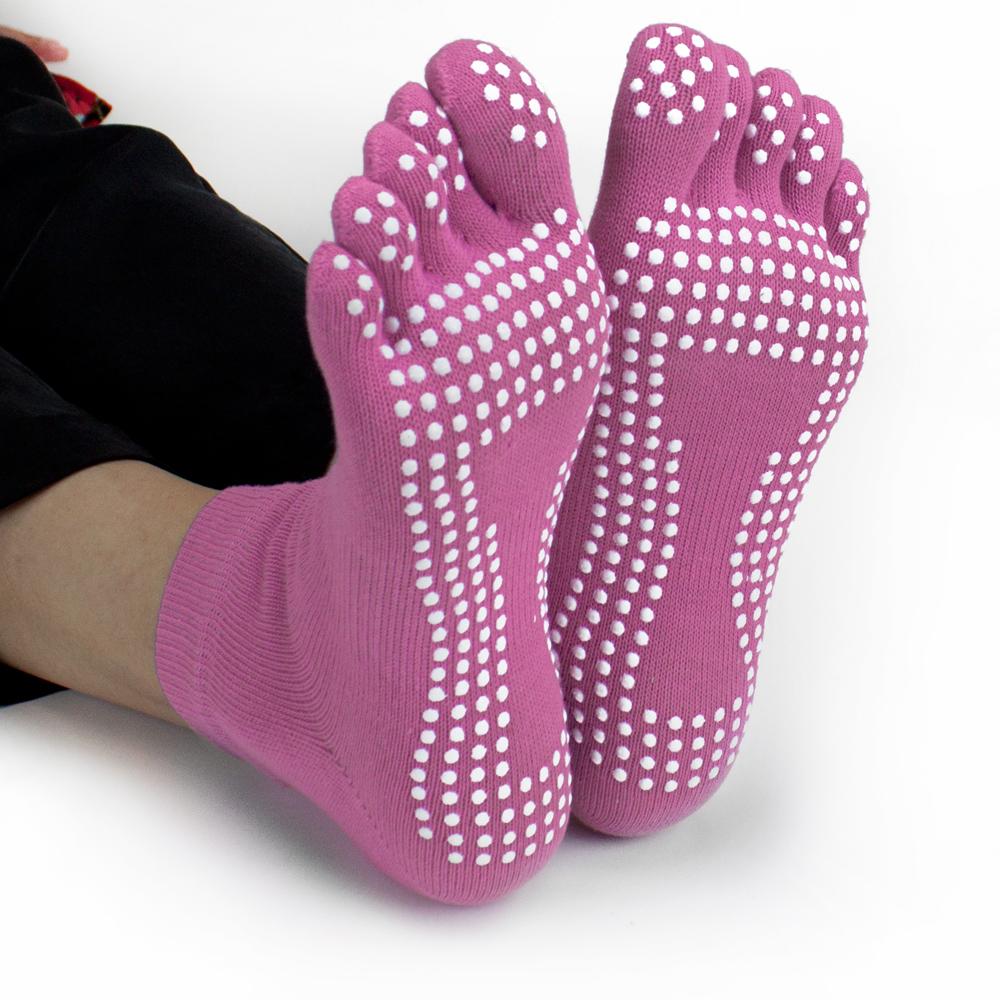 Pink Yoga Toe Socks w/ Slip-free Silicone Texturizing Beads