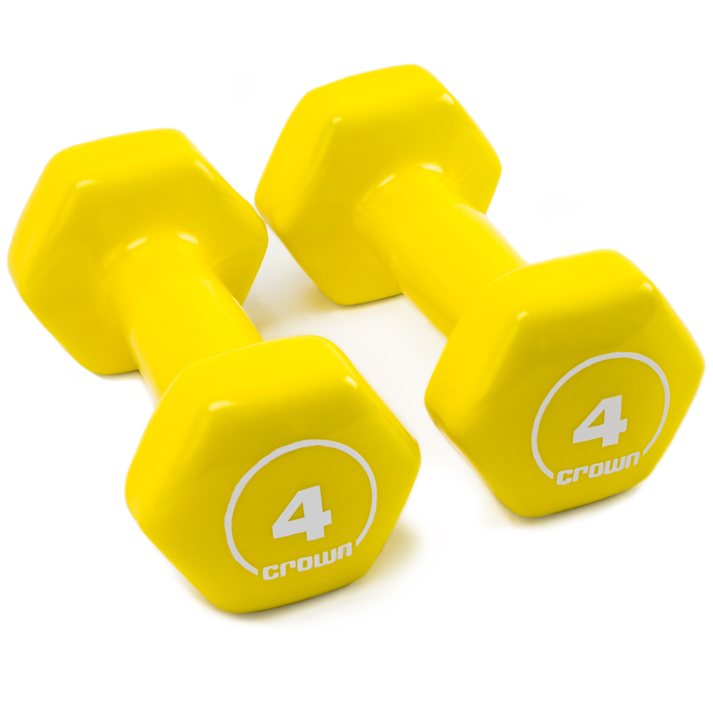 Vinyl Hex Hand Weights, 4 LB