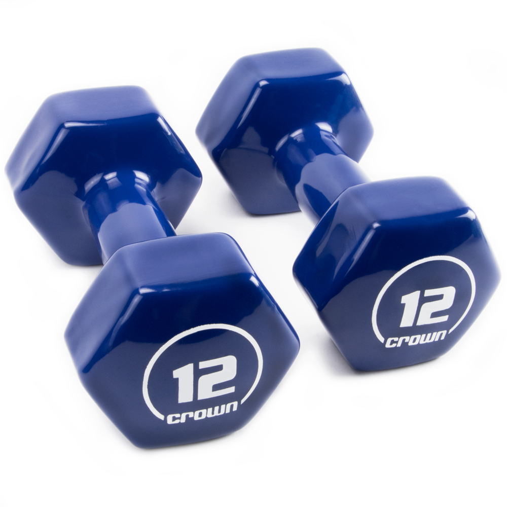 Vinyl Hex Hand Weights, 12 LB