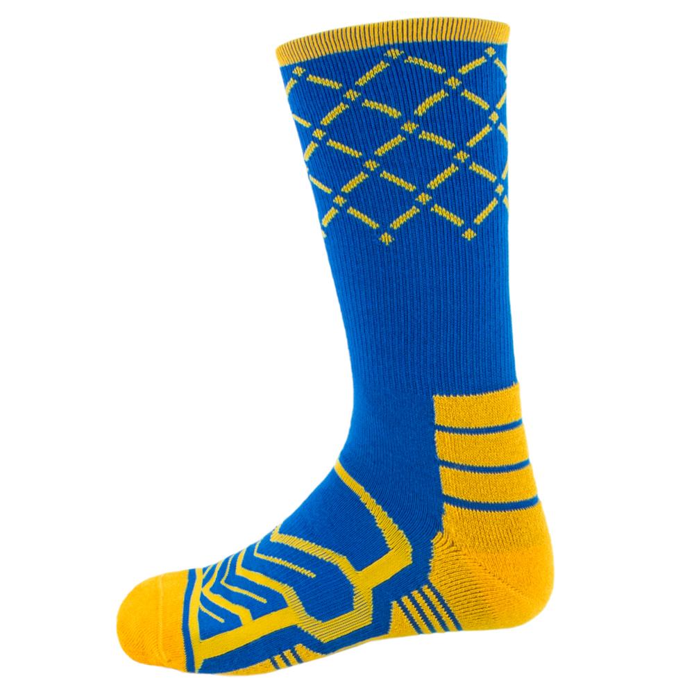 Large Basketball Compression Socks, Blue/Gold