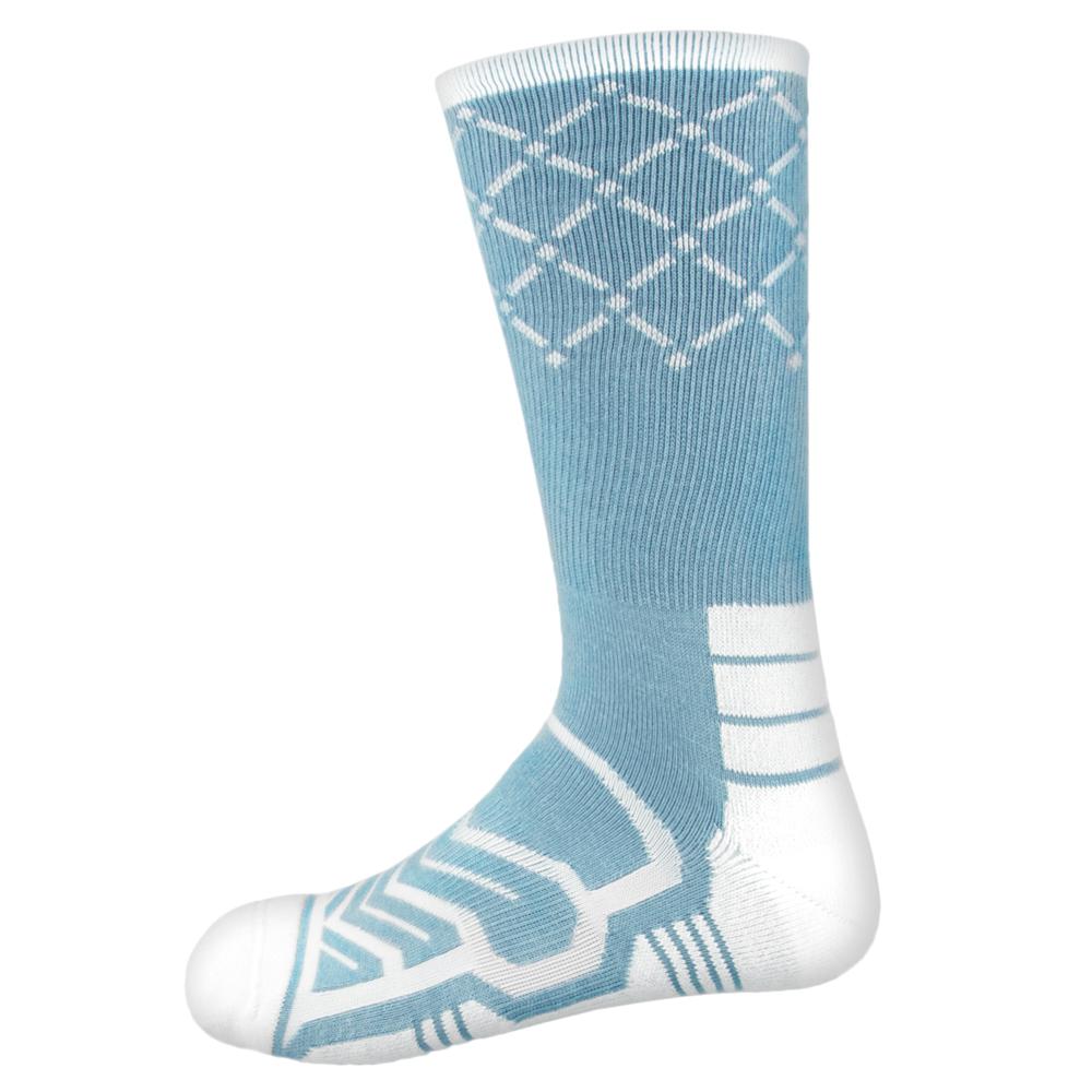 Large Basketball Compression Socks, Light Blue/White