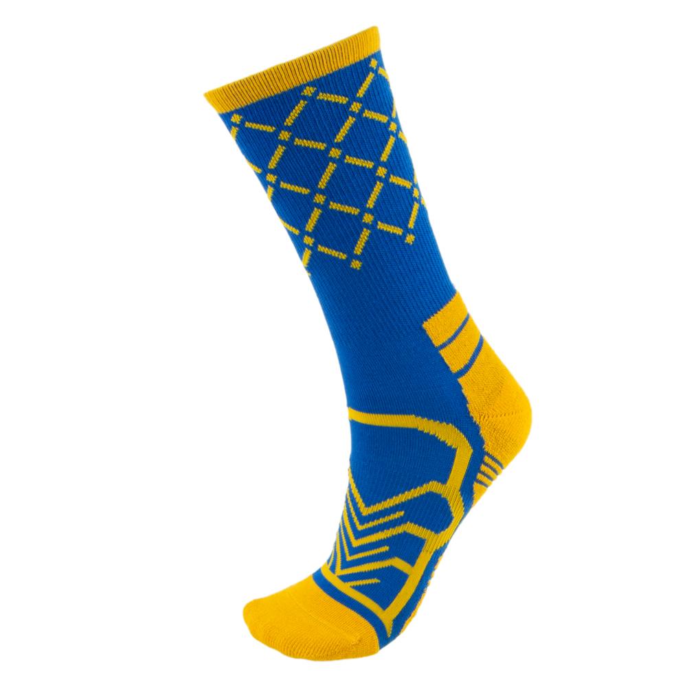 Medium Basketball Compression Socks, Blue/Gold