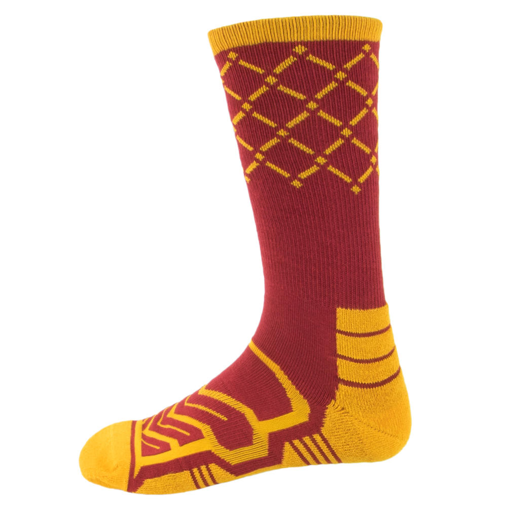 Large Basketball Compression Socks, Red/yellow