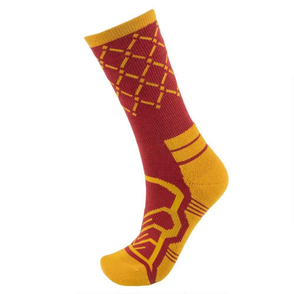 Medium Basketball Compression Socks, Red/Yellow