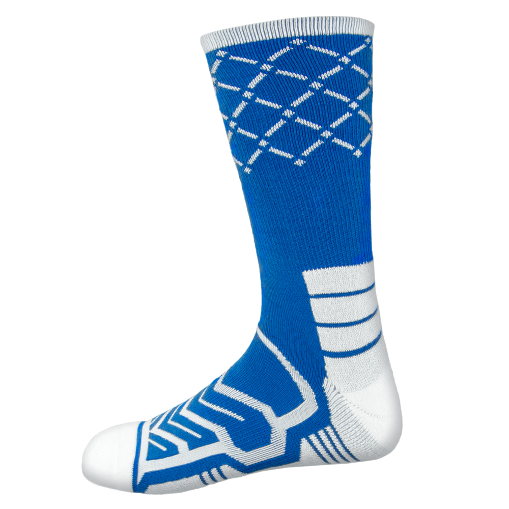 Large Basketball Compression Socks, Blue/White