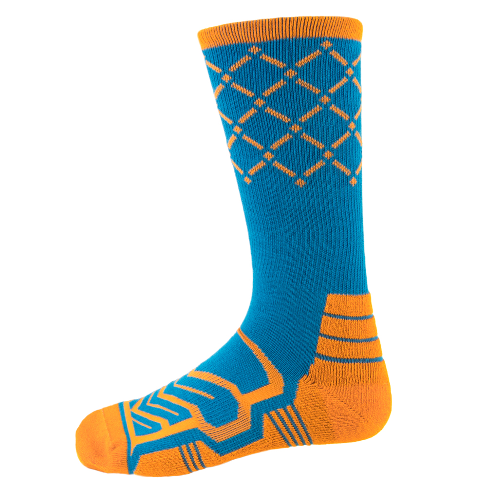 Large Basketball Compression Socks, Blue/Orange