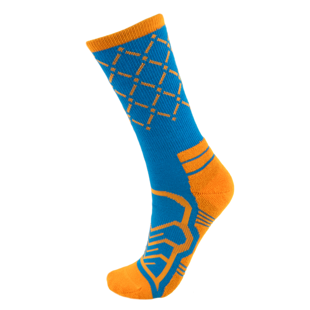 Medium Basketball Compression Socks, Blue/Orange