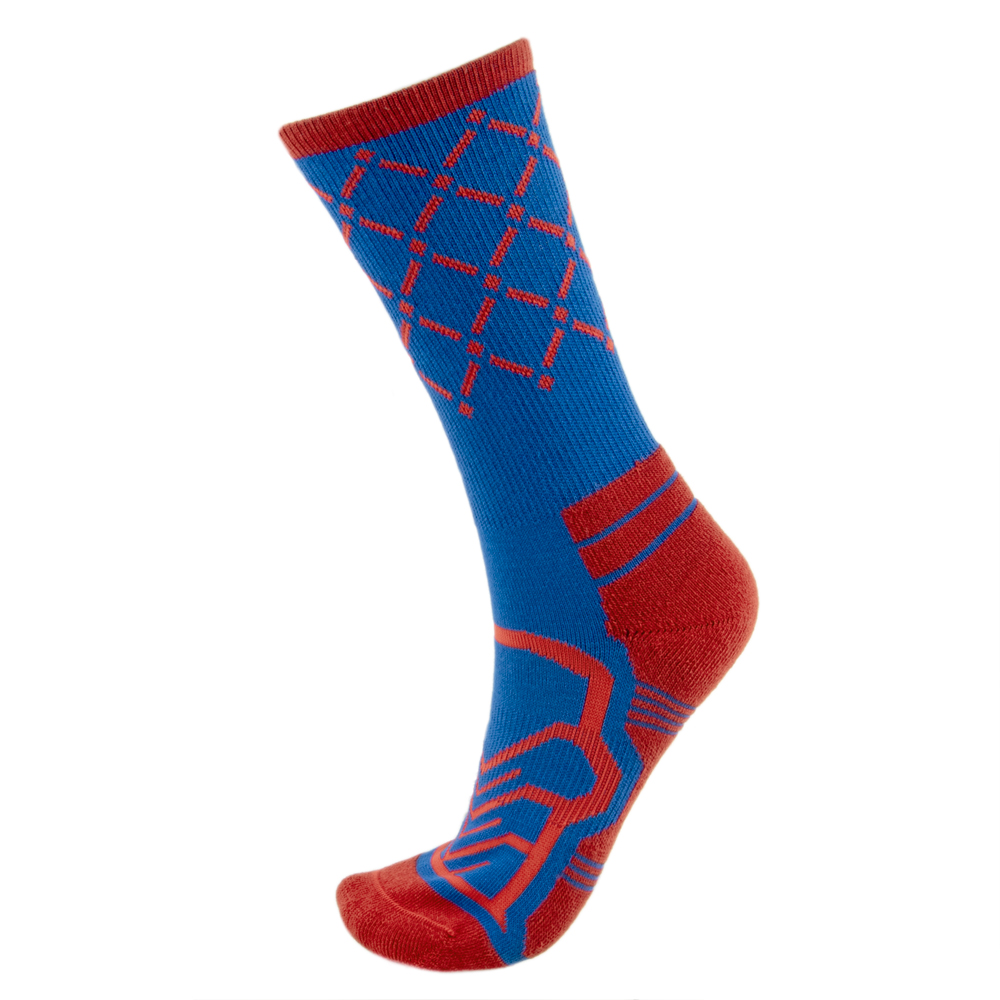Medium Basketball Compression Socks, Blue/Red