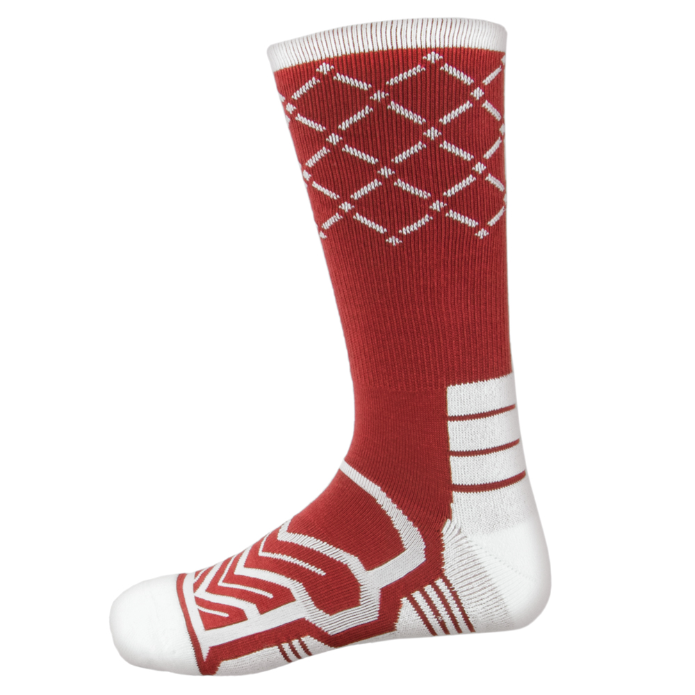 Large Basketball Compression Socks, Red/White