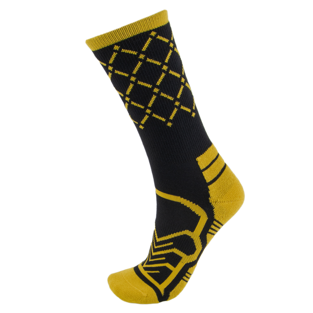 Medium Basketball Compression Socks, Black/Yellow