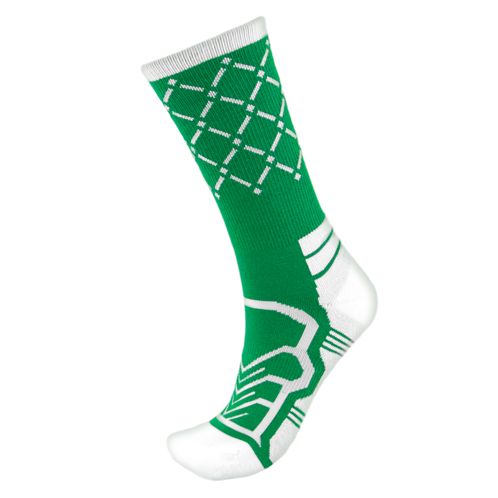Medium Basketball Compression Socks, Green/White