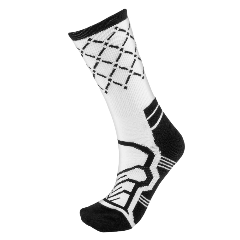 Medium Basketball Compression Socks, White/Black