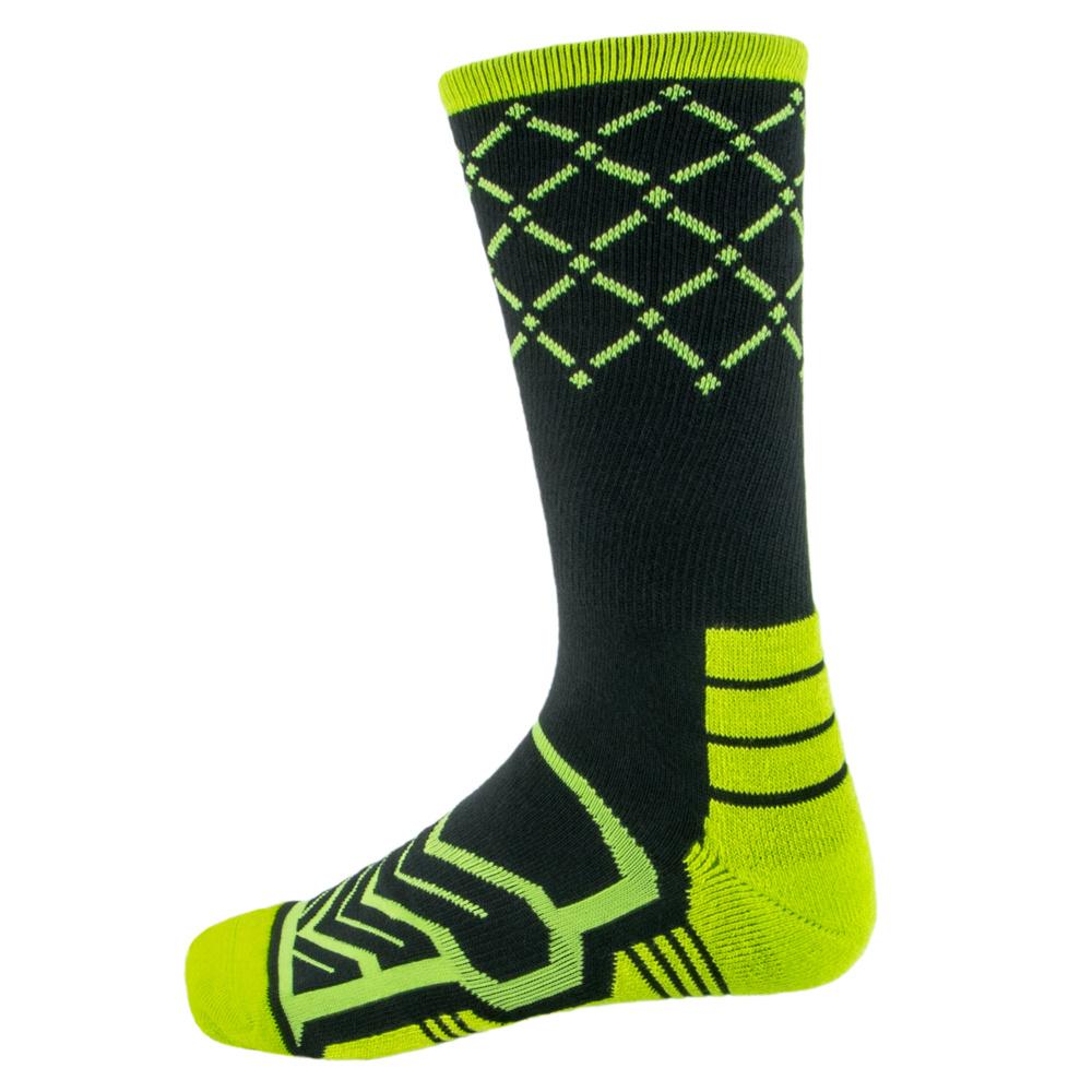 Large Basketball Compression Socks, Black/Green