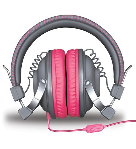HM-260 Headphones w/Mic Gray & Pink