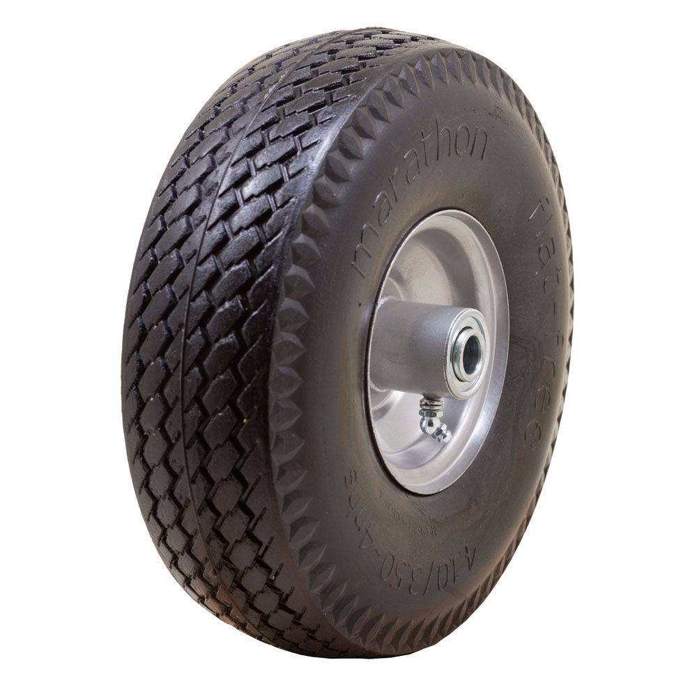 Flat Free Hand Truck Tire with Sawtooth Tread, 4.10/3.50-4""