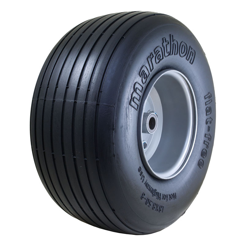 """Flat Free Power Equipment Tire with Ribbed Tread, 18x8.50-8"""""""