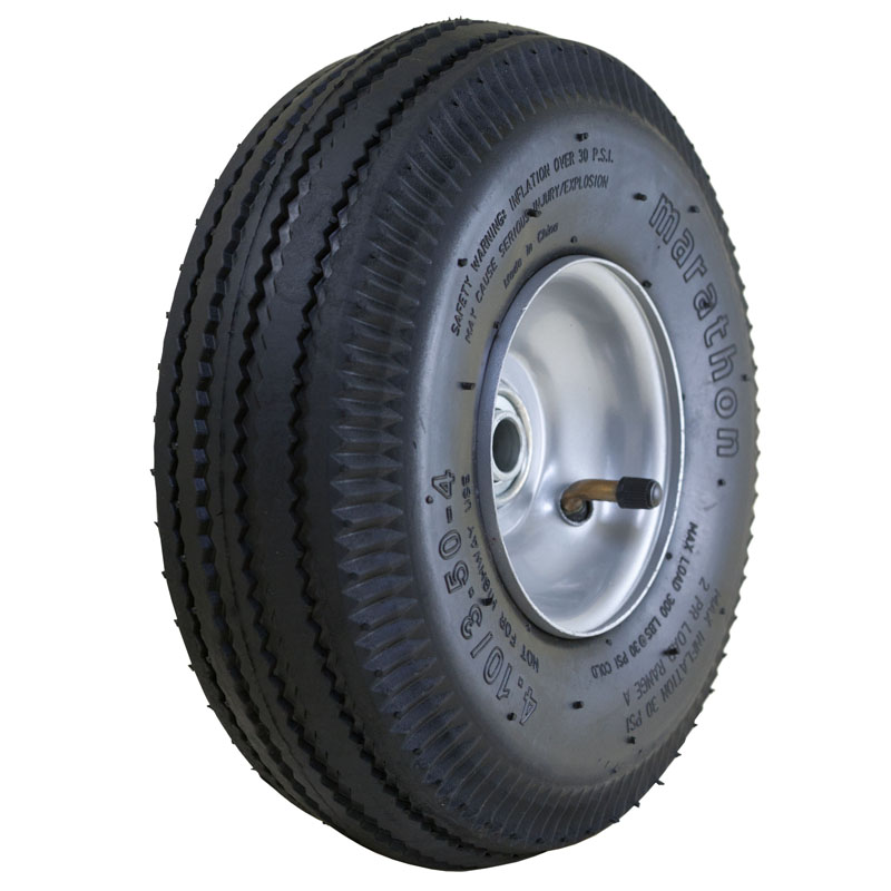 Air Filled Hand Truck Tire with Sawtooth Tread, 4.10/3.50-4""