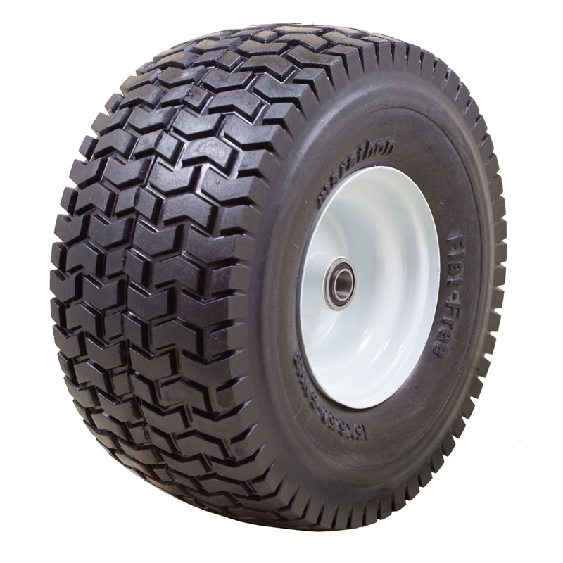 Flat Free Power Equipment Tire with Turf Tread, 15x6.50-6""