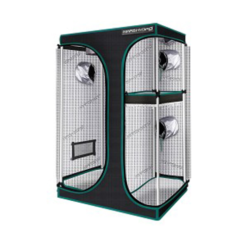 2-in-1 150x120x200cm Multi-Chamber Reflective Grow Tent for Indoor Hydroponic Growing System