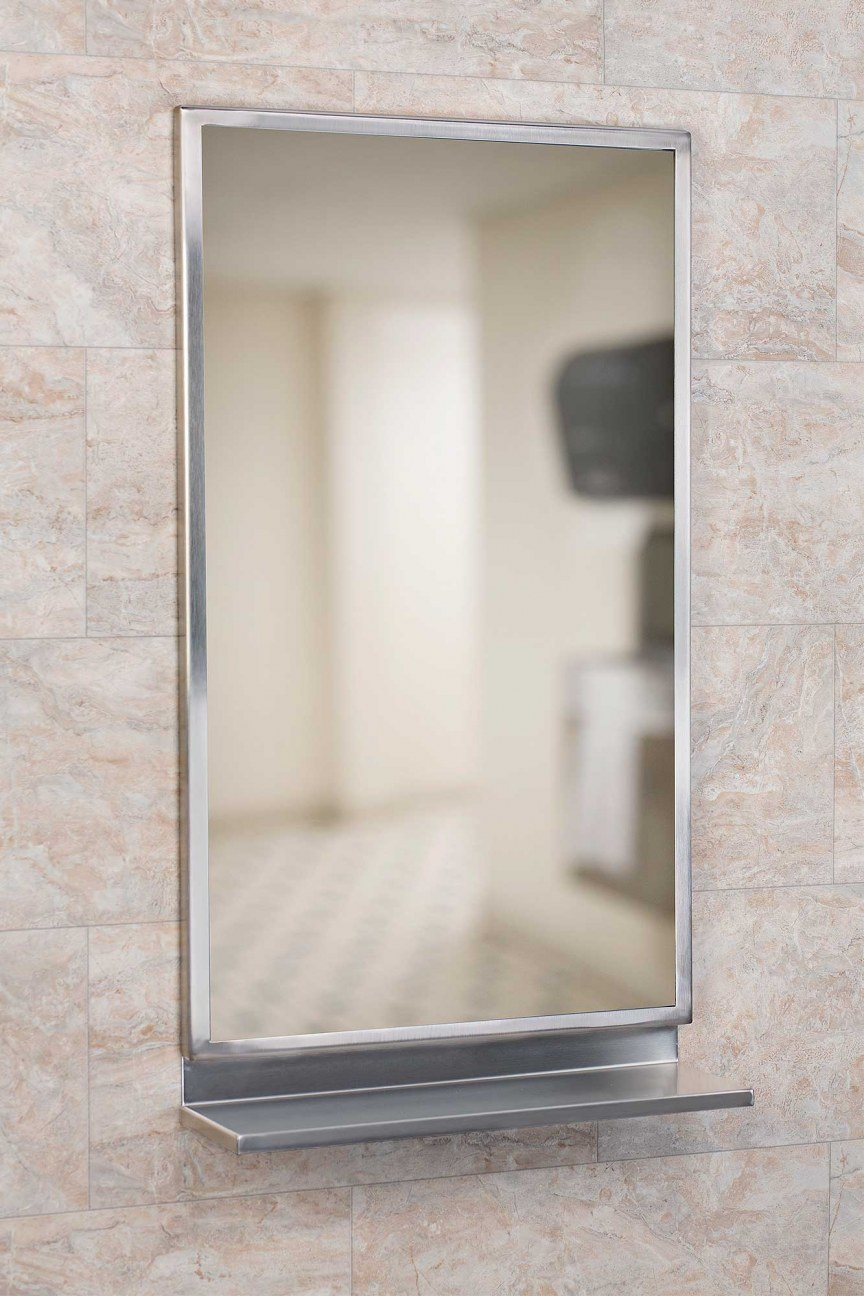 18-inch x 30-inch Angle Frame, with mirror, bright finish
