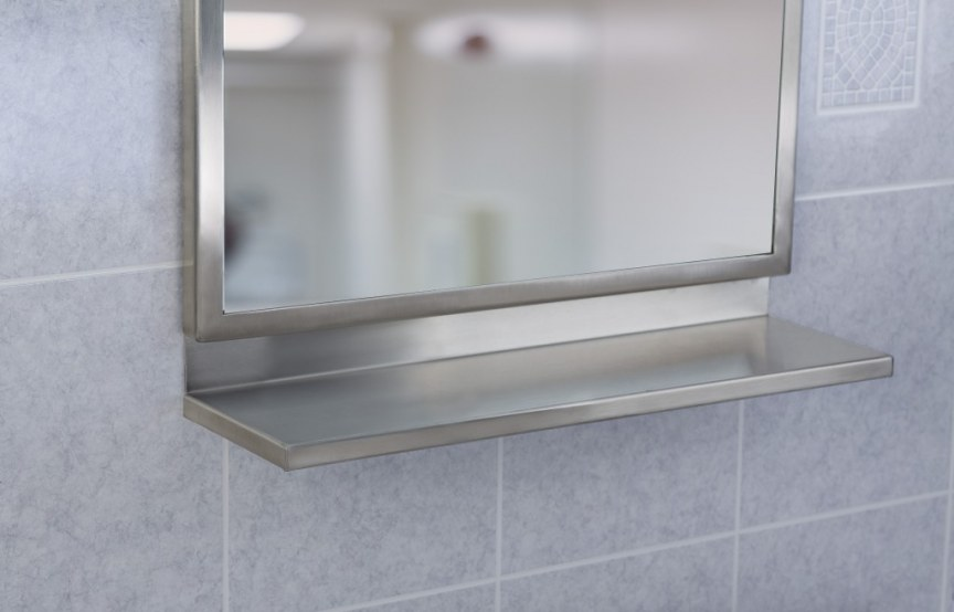 18-inch x 36-inch Angle Frame, with mirror, satin finish