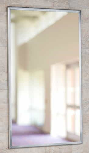 18-inch x 30-inch Channel framed mirror, bright finish
