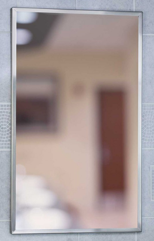 18-inch x 36-inch Channel framed mirror, satin finish