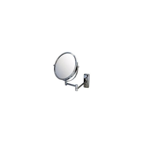 Gold plated swingarm vanity mirror, 4X magnification, 8-inch diameter, 13.5-inch extension