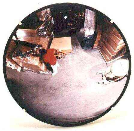 Steel 18-inch diameter, outdoor convex mirror, stainless steel back