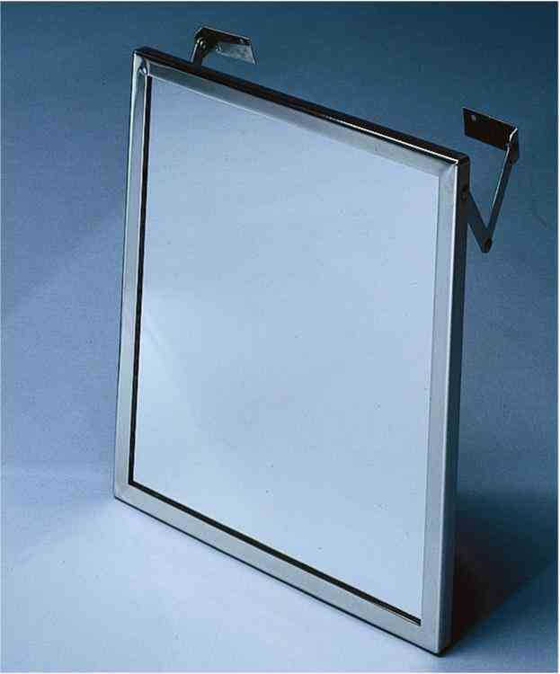 16-inch x 30-inch, Adjustable tilt frame & mirror, bright finish