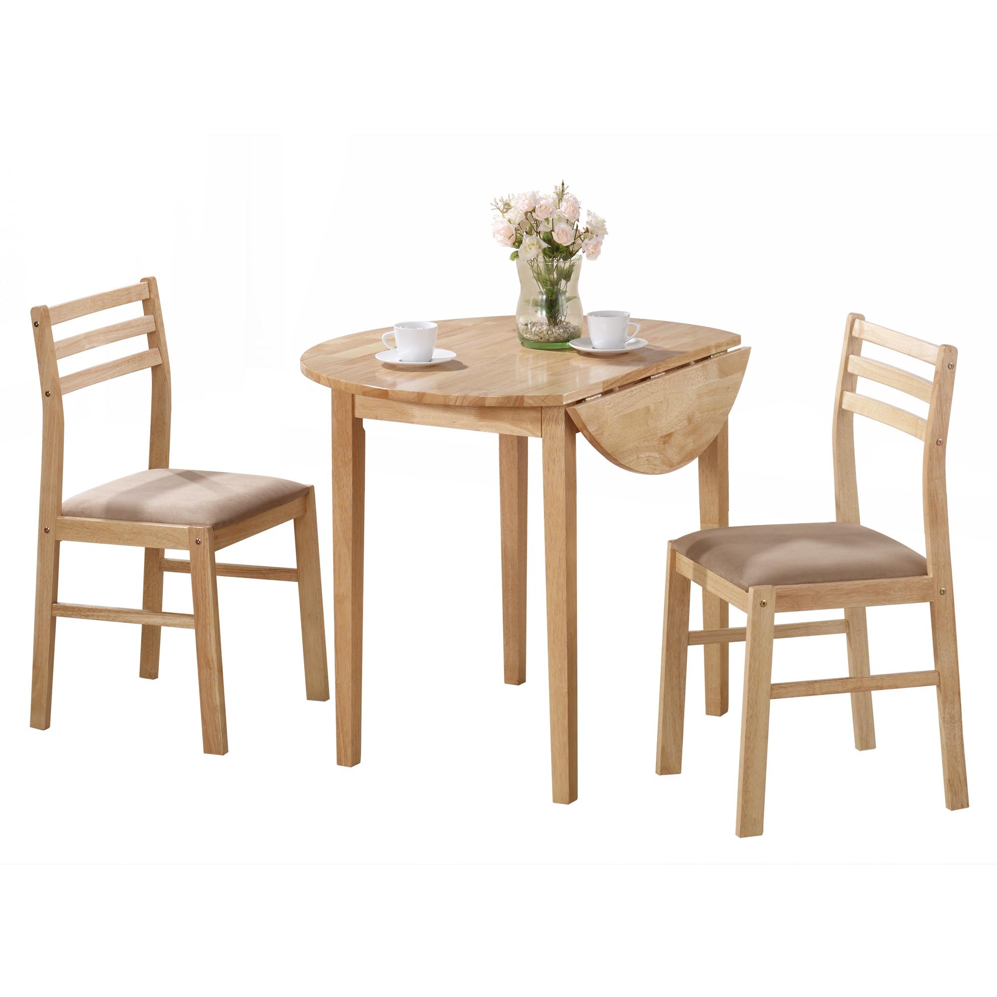 """DINING SET - 3PCS SET / NATURAL WITH A 36""""DIA DROP LEAF"""
