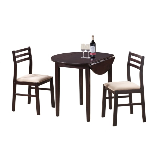 """DINING SET - 3PCS SET / 36""""DIA / CAPPUCCINO W/ DROP LEAF"""