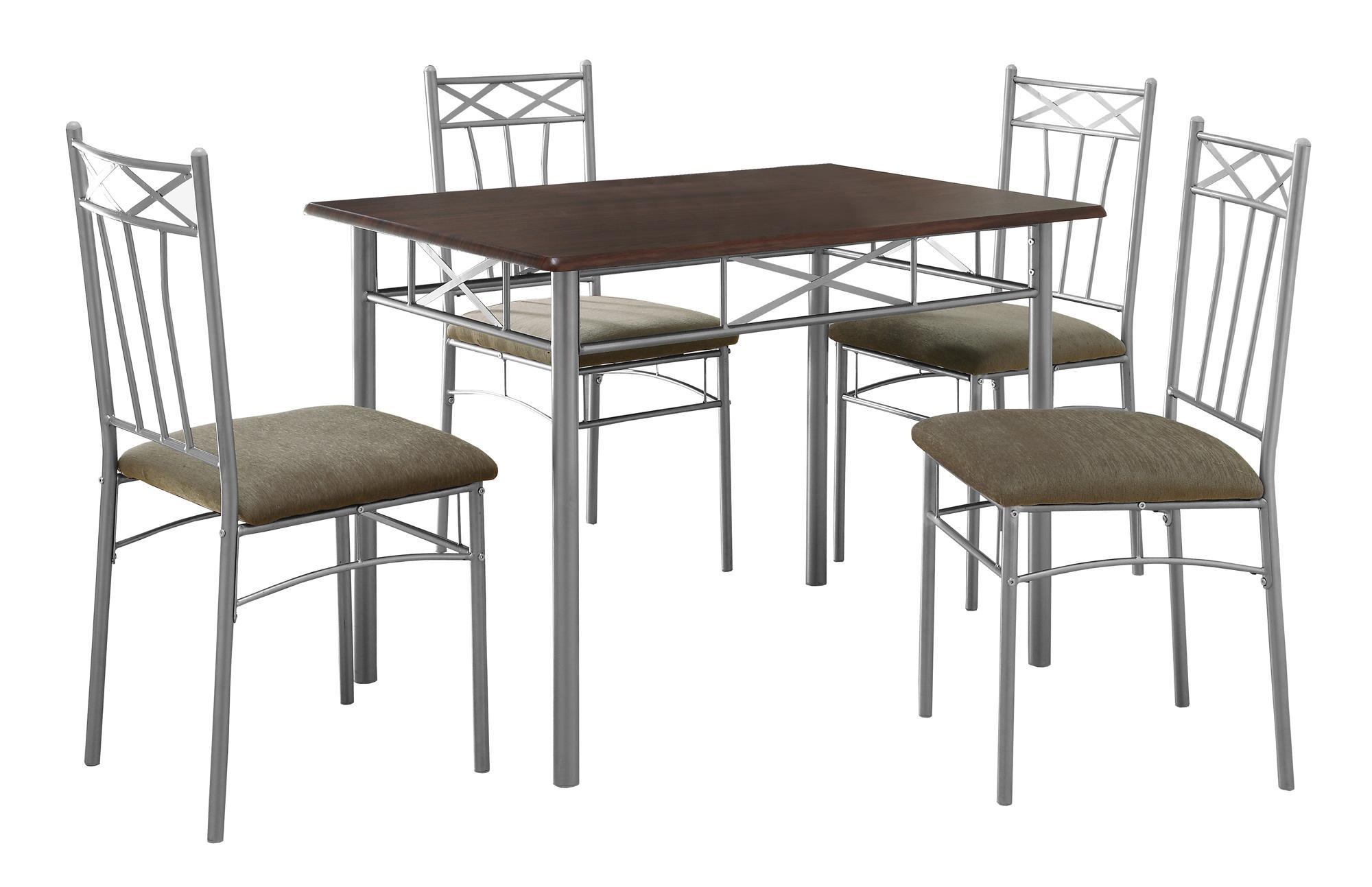 DINING SET - 5PCS SET / CAPPUCCINO / SILVER METAL