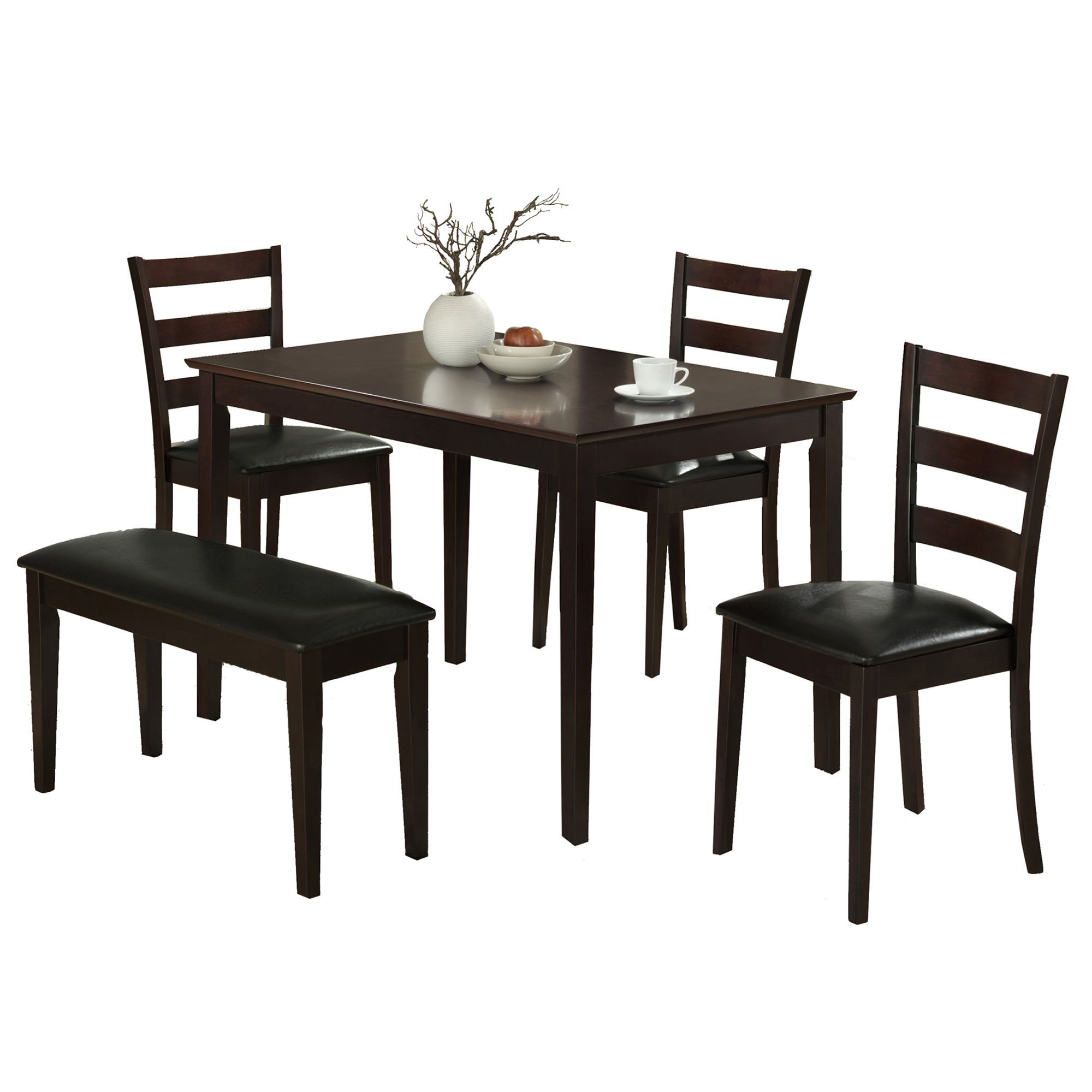 Dining Set - 5 Pieces Set / Cappuccino Bench & 3 Side Chairs