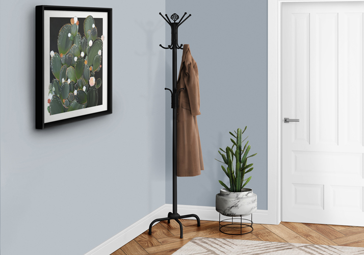 "70"" Contemporary Metal Coat Rack, Black"
