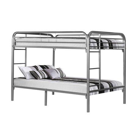 Metal Full/Full Bunk Bed, Silver
