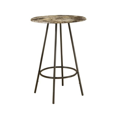 "HOME BAR - 30"" DIAMETER / CAPPUCCINO MARBLE / COFFEE METAL"